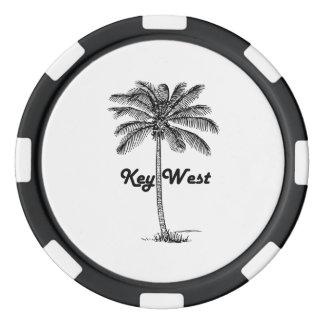 Diseño blanco y negro de Key West la Florida y de Fichas De Póquer