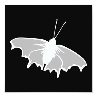 Diseño blanco y negro de la mariposa invitación 13,3 cm x 13,3cm