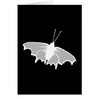 Diseño blanco y negro de la mariposa felicitaciones