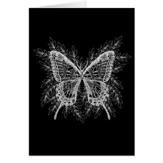 Diseño blanco y negro de la mariposa tarjeta de felicitación