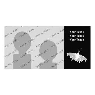 Diseño blanco y negro de la mariposa tarjeta fotográfica