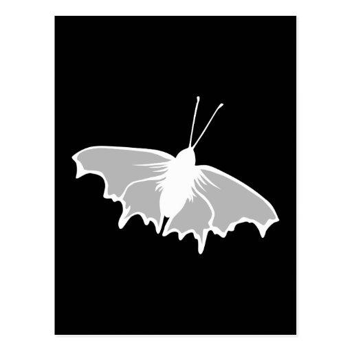 Diseño blanco y negro de la mariposa tarjeta postal
