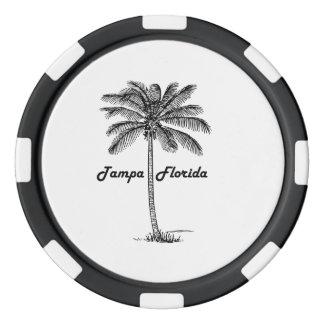 Diseño blanco y negro de Tampa y de la palma Juego De Fichas De Póquer
