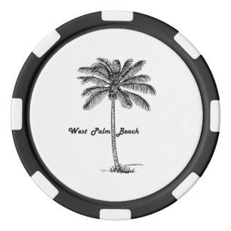 Diseño blanco y negro de West Palm Beach y de la Juego De Fichas De Póquer