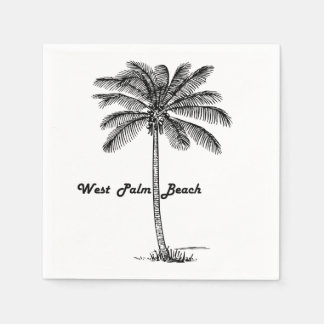 Diseño blanco y negro de West Palm Beach y de la Servilleta De Papel