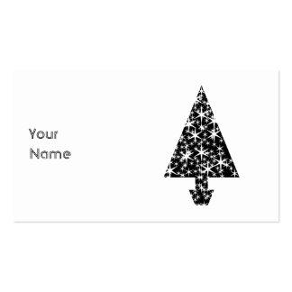 Diseño blanco y negro del árbol de navidad tarjetas de visita