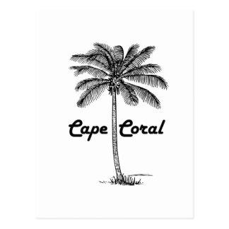 Diseño blanco y negro del coral y de la palma del postal