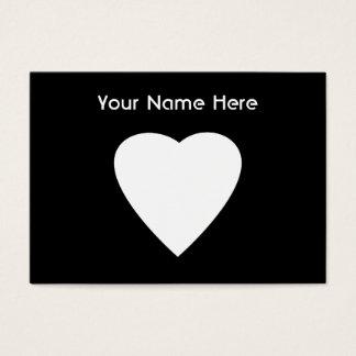 Diseño blanco y negro del corazón del amor tarjeta de negocios