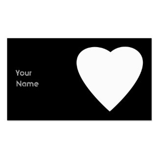 Diseño blanco y negro del corazón del amor tarjetas de visita