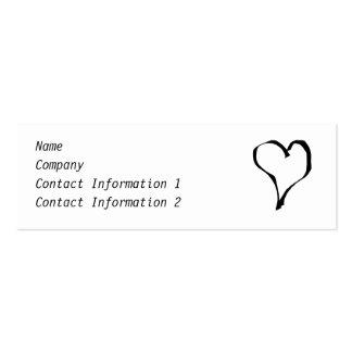 Diseño blanco y negro del corazón del amor tarjetas de visita mini