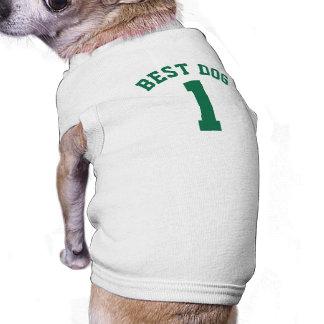 Diseño blanco y verde oscuro del jersey de los camiseta sin mangas para perro