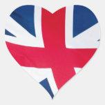 diseño británico de la bandera colcomanias corazon personalizadas