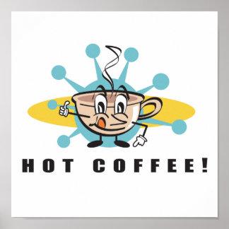 diseño caliente retro del café poster