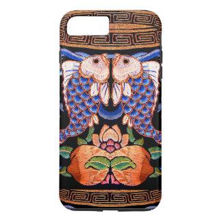 Diseño chino bordado de los pescados funda iPhone 7 plus
