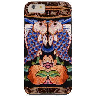 Diseño chino bordado de los pescados funda resistente iPhone 6 plus