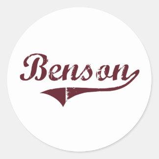 Diseño clásico de Benson Minnesota Etiqueta Redonda