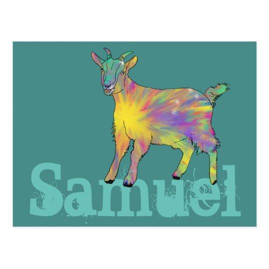 Diseño colorido de la cabra del arte de Starburst Postal