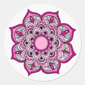 Diseño colorido de la mandala pegatina redonda