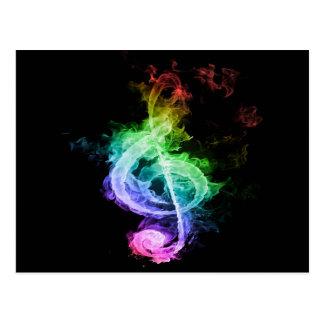 Diseño colorido de la nota musical postal