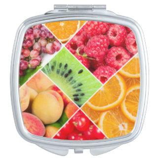 Diseño colorido del modelo del collage de la fruta espejos de viaje