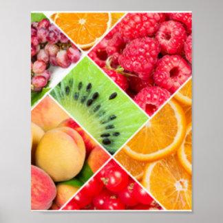 Diseño colorido del modelo del collage de la fruta póster