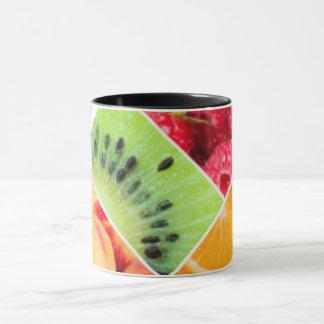 Diseño colorido del modelo del collage de la fruta taza