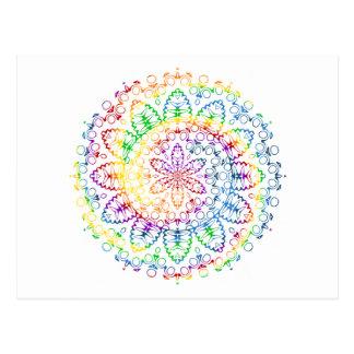 Diseño colorido del remolino de la mandala postal