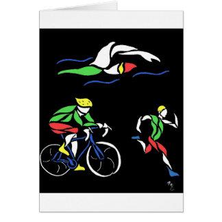 Diseño colorido del Triathlon Tarjeta De Felicitación