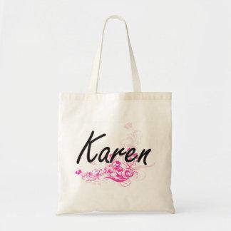 Diseño conocido artístico de Karen con las flores Bolsa Tela Barata