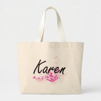 Diseño conocido artístico de Karen con las flores Bolsa Tela Grande