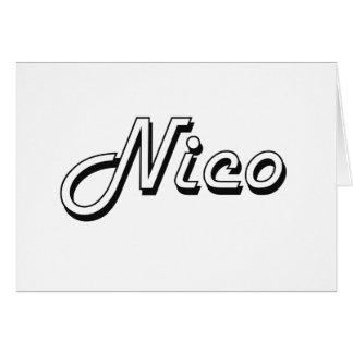 Diseño conocido retro clásico de Nico Tarjeta De Felicitación