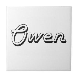 Diseño conocido retro clásico de Owen Azulejo Cuadrado Pequeño