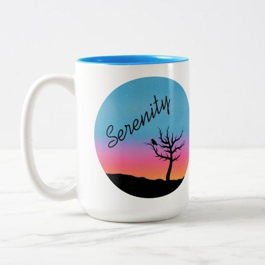 Diseño crepuscular de la serenidad del cielo taza de café de dos colores