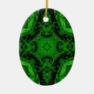 Diseño cruciforme profundo del verde esmeralda adorno de cerámica