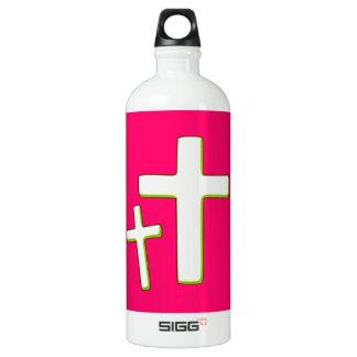 Diseño cruzado verde y rosado botella de agua