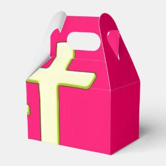 Diseño cruzado verde y rosado caja para regalos