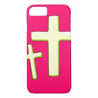 Diseño cruzado verde y rosado funda iPhone 7