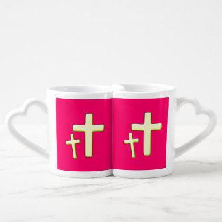 Diseño cruzado verde y rosado set de tazas de café