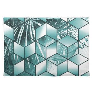 Diseño cúbico tropical de las hojas de palma del salvamanteles