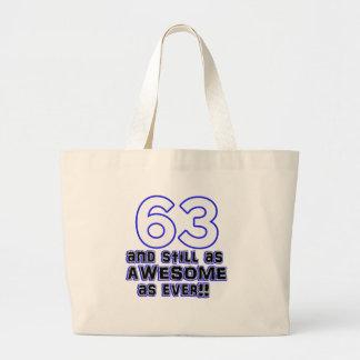 diseño de 63 cumpleaños bolsa de tela grande