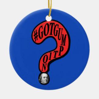 Diseño de Ben Franklin del signo de interrogación Adorno Navideño Redondo De Cerámica
