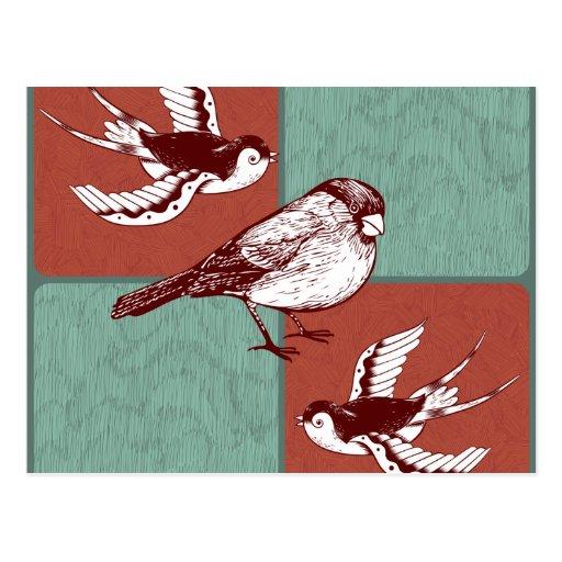 Diseño de bloque bonito del color de azul rojo de  tarjetas postales