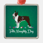 Diseño de Brown Boston Terrier Feliz Naughty Dog Adorno Navideño Cuadrado De Metal