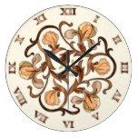 Diseño de flores de vidrio manchado - Reloj redond