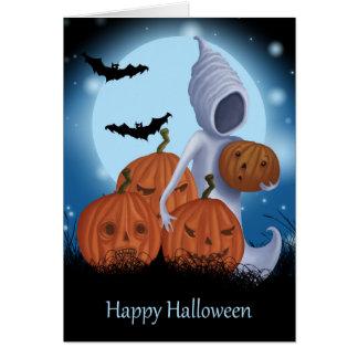 Diseño de Halloween del fantasma y de la calabaza Tarjeta De Felicitación