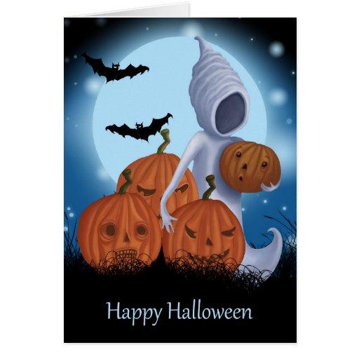 Diseño de Halloween del fantasma y de la calabaza Tarjetón