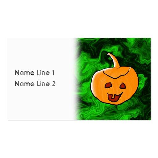 Diseño de Halloween en verde y naranja con la cala Tarjeta Personal