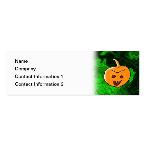 Diseño de Halloween en verde y naranja con la cala Plantillas De Tarjetas Personales