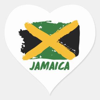 Diseño de la bandera de Jamaica Pegatina En Forma De Corazón
