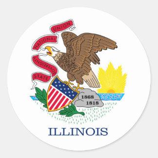 Diseño de la bandera del estado de Illinois Pegatina Redonda